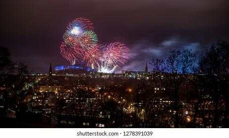 Fireworks above Edinburgh Castle during Hogmanay, New Year's Eve
