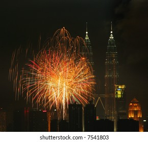 Fireworks above Malaysia's landmark Petronas Twin Towers.