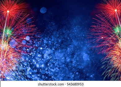 Fireworks with Abstract bokeh background