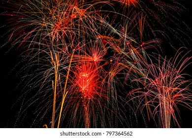 Fireworks against black background