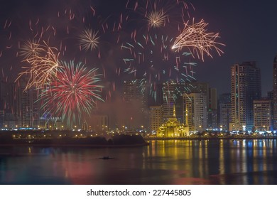 Fireworks at Al Noor Mosque in Sharjah City at night. United Arab Emirates