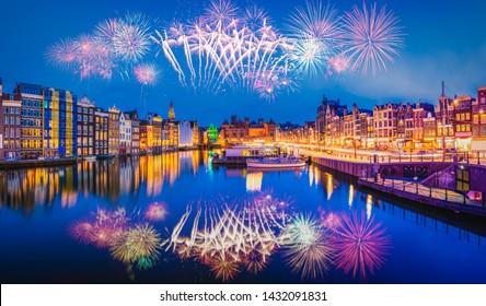 Fireworks in Amsterdam , Netherlands