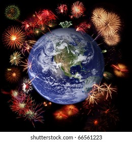 Fireworks around Earth - West hemisphere, celebration concept (Earth image courtesy of Nasa http://visibleearth.nasa.gov/)