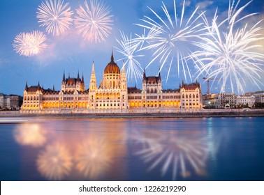 fireworks around Hungarian parliament-  New Year destination, Budapest