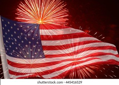 Fireworks background for USA Independence Day. Fourth of July celebrate. Independence Day fireworks and flag. USA flag and fireworks. 4th of July background with flag and fireworks.
