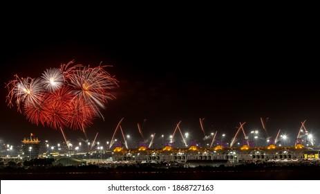 Fireworks at Bahrain International Circuit on the occasion of Bahrain Sakhir Grand Prix 2020 on December 06, 2020 during night- Manama, Bahrain: December 06, 2020.
