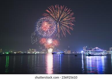 The fireworks at beach Twilight.