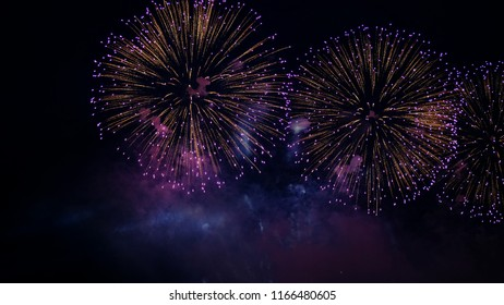 Fireworks, a beautiful colored pyrotechnic and laser show. Salute at the celebration