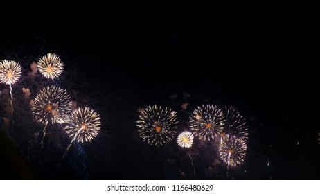 Fireworks, a beautiful multi-colored pyrotechnic show. Salute at the celebration
