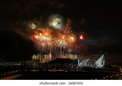 Fireworks are being displayed over Malaysia's landmark Seri Saujana Bridge in Putrajaya, Malaysia.