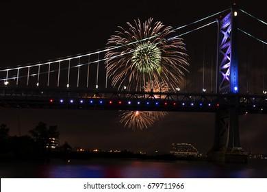 Fireworks at the Ben Franklin Bridge Philadelphia PA
