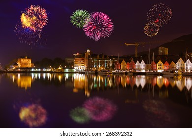 Fireworks in Bergen Norway - holiday background