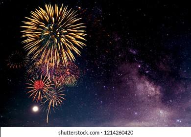 Fireworks with blur milky way background