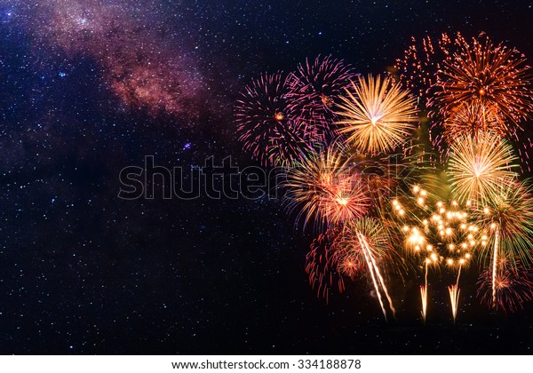 Fireworks with blur milkyway background