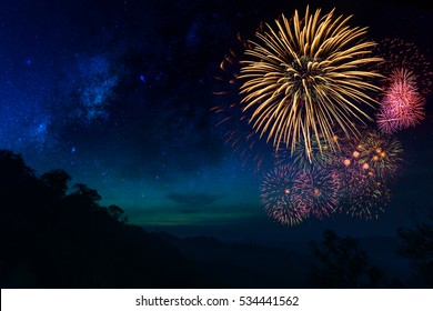 Fireworks with blur mountain background