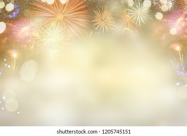 Fireworks and bokeh lights concept