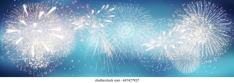 Fireworks and bokeh in New Year eve and copy space. Abstract background holiday.