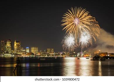 Fireworks in Boston Harbor in celebration of Labor Day