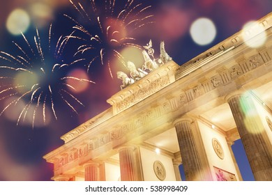 Fireworks at Brandenburger gate in Berlin