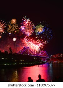 Fireworks Brisbane River Bridge