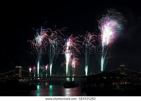 Fireworks in Budapest, Hungary