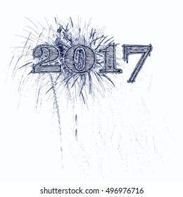 Fireworks celebrate 2017 grunge blue and black letters on white background Happy New Year Year's Eve day concept with copy space.
