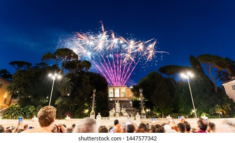 Fireworks for celebrate its Patron Saints' Day. PIAZZA DEL POPOLO, ROME, ITALY. June 29th is the feast of St. Peter and St. Paul.