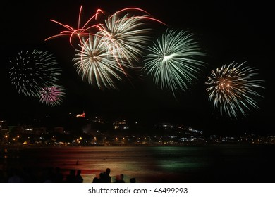 Fireworks celebrating new year on the beach of Bombinhas in Brazil