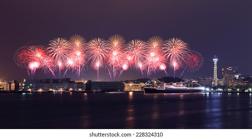 Fireworks celebrating over  marina bay in Yokohama City, Japan
