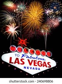 Fireworks celebration and Fabulous Las Vegas Sign