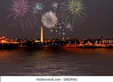 fireworks celebration over washington dc skyline