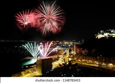 Fireworks in the city center beach of Alicante in Spain.