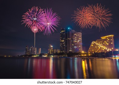 Fireworks in the city at night time.