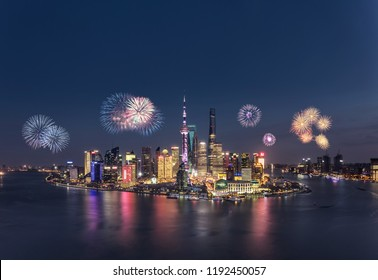 Fireworks and cityscape in Shanghai at night