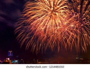 Fireworks close-up over night city - Yekaterinburg, Russia