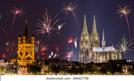 Fireworks at Cologne Cathedral on New Year's Eve