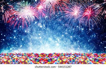 Fireworks, confetti, background New Year