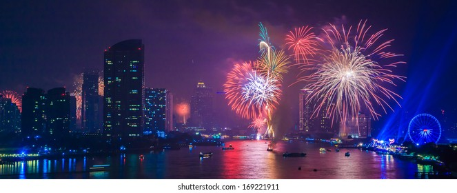 fireworks countdown happy new year in city landscape bangkok asia thailand