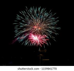 fireworks in dark night isolated