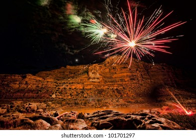 Fireworks in deep canyon with HDR effect applied