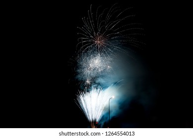 A fireworks display against the night sky