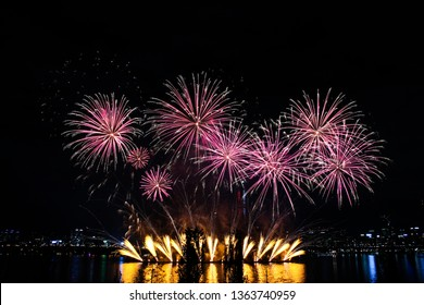 a fireworks display along the river