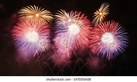 Fireworks display during Nagaoka Natsu Matsuri 2018