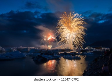 Fireworks display Jokulsarlon Glacier ice lagoon in south Iceland