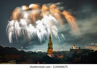 Fireworks display in Krakow, Poland