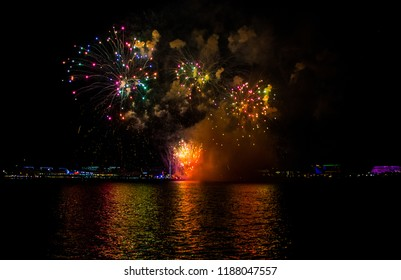 Fireworks Display From Manila Bay Philippines