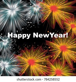 A fireworks display and a New Year greeting are featured in an abstract background illustration.