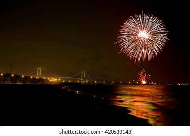Fireworks display in the new york harbor