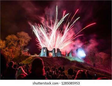 Fireworks display in Newcastle Emlyn, Carmarthenshire, Ceredigion, Wales.  Celebrating bonfire night in the UK