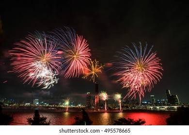 The fireworks display on the beautiful River in Korea.